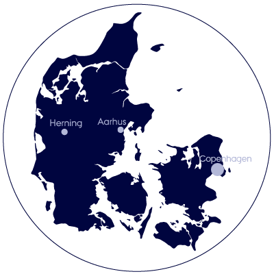 A map of Denmark with Aarhus, Herning and Copenhagen highlighted due to affiliation with Aarhus BSS.