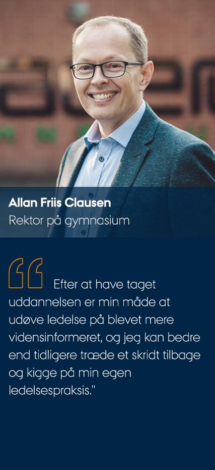 Allan Friis Clausen fortæller om uddannelsen, mens han smiler til kameraet.